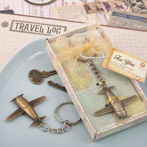 Vintage Airplane Design All Metal Key Chain In Antique Brass Color Finish 302-UNIQUE