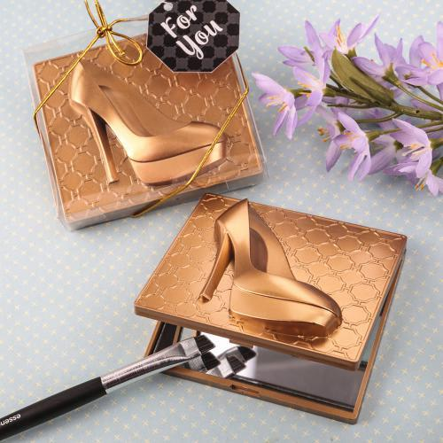 Gold High Heel Shoe Design Compact Mirror 221-SHOES