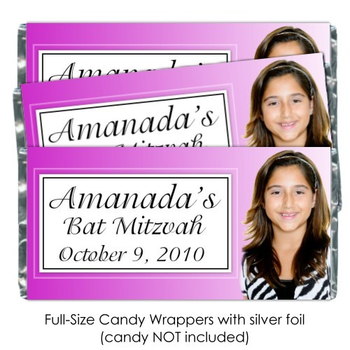Pink Bar Mitzvah Candy Bar Wrappers 127-J