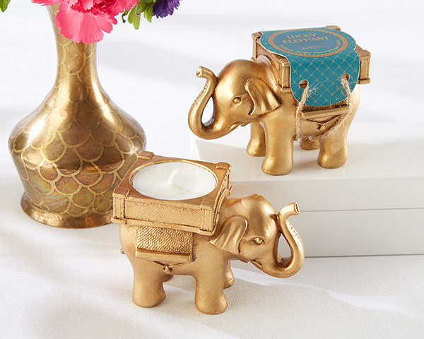 Lucky Elephant Golden Tealight Holder 129-IndianFavors