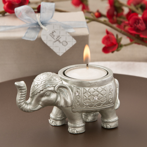 Good Luck Silver Indian Elephant Candle Holder 146-IF