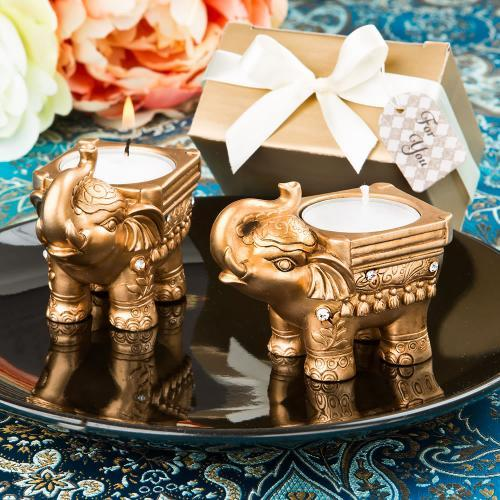 Gold Good Luck Indian Elephant Candle Holder 148-IF