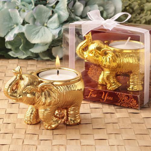 Good Fortune Design Gold Elephant Candle Holder 156-IF