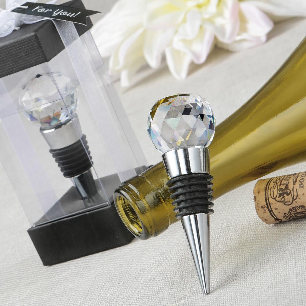 Glass Crystal Faceted Top Chrome Bottle Stopper 365-WINE-STOPPER