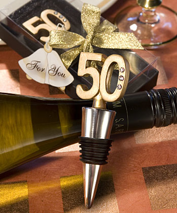 50th Anniversary Wine Bottle Stopper Favors 212-W
