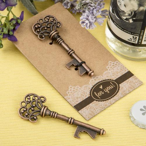 Copper Skeleton Key Bottle Opener with Heavy Kraft Paper Backer Card 329-WINE