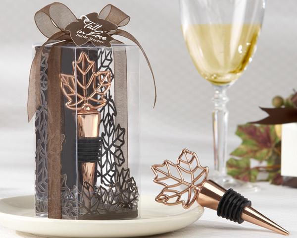 """Lustrous Leaf"" Copper-Finish Bottle Stopper in Laser-Cut Leaf Gift Box 149-AUTUMN"