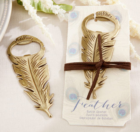 """""""Gilded Gold"""" Feather Bottle Opener 262-WINE"""