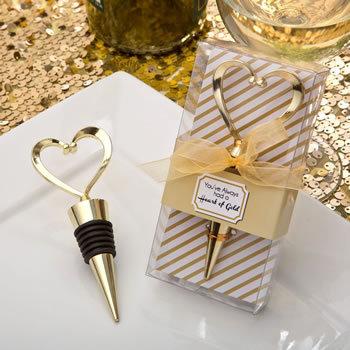 Gold Heart Design Metal Bottle Stopper 313-WINE