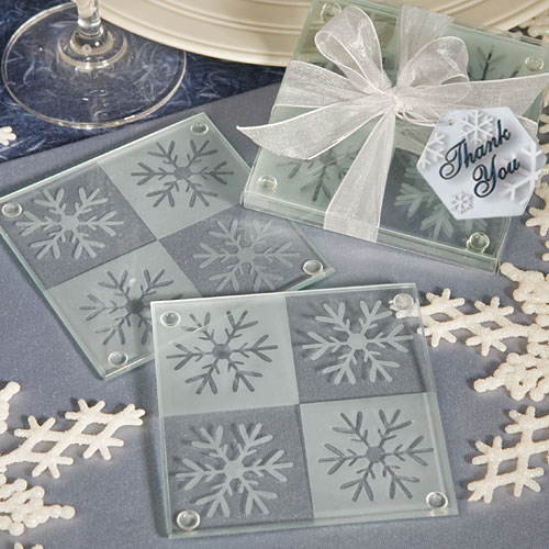 Lustrous Snowflake Glass Coaster Set 158-CMS