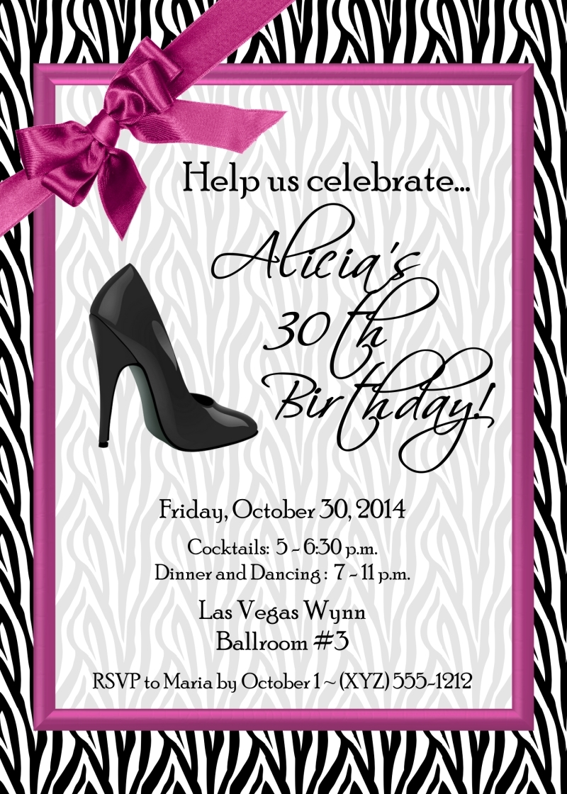 "Zebra High Heel Invitations 5"" x 7"" 180-ZSHOE"