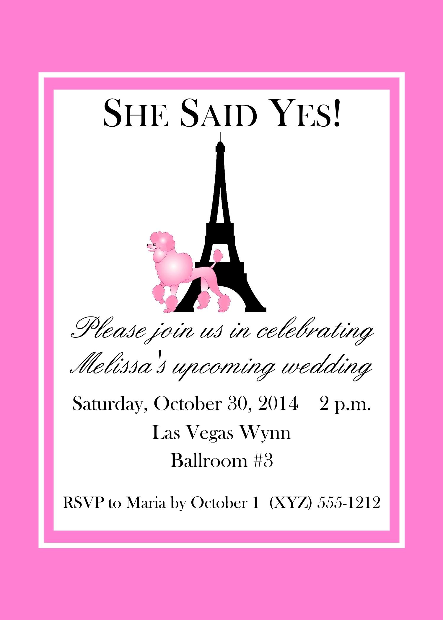 """Pink Poodle Paris Themed Invitations, 5"""" x 7"""" 142-PARIS"""