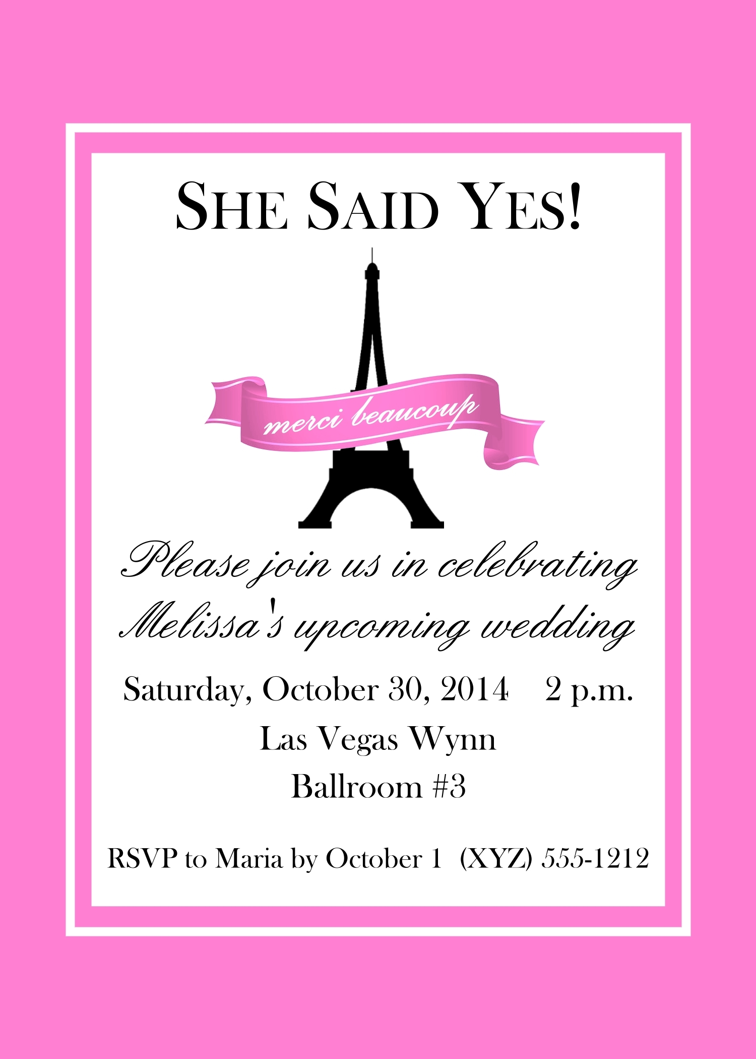 "Pink Banner Paris Themed Invitations, 5"" x 7"" 142-ParisBanner"