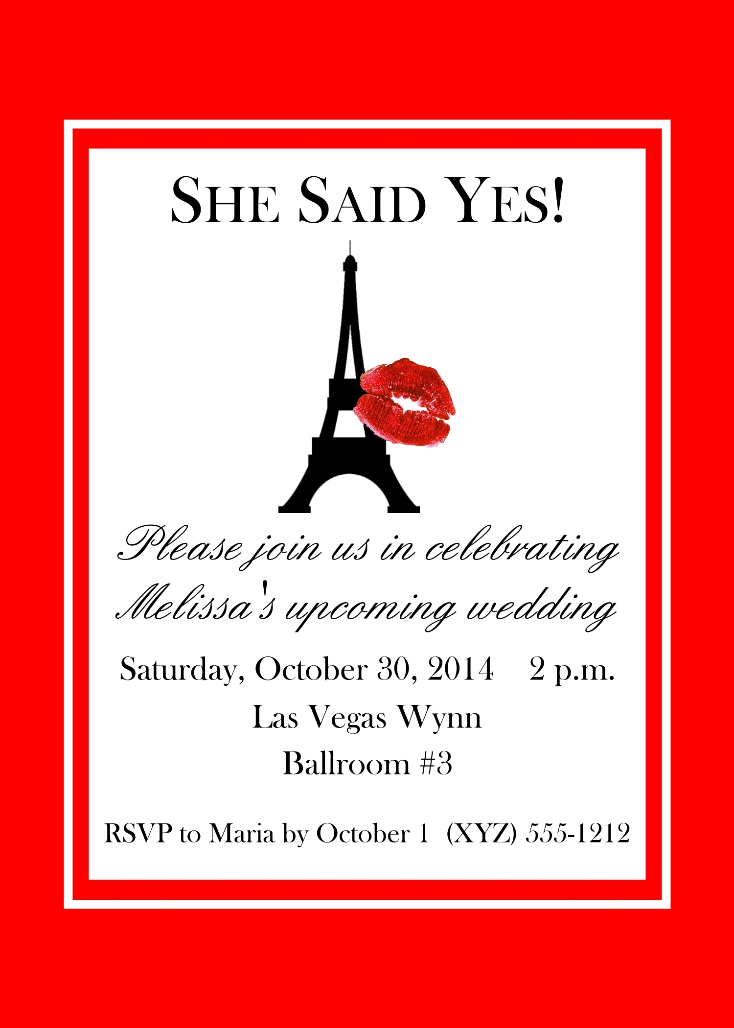 "Red Paris Themed Invitations, Eiffel Tower Invite, 5"" x 7"" 142-ParisEiffelTower"