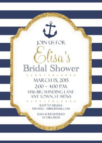Nautical Bridal Shower Invitations, 5x7 size 103-BridalShowerInvite