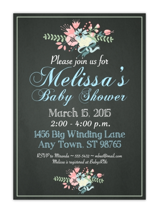 Chalkboard Look Bridal Shower Invitations, 5x7 size