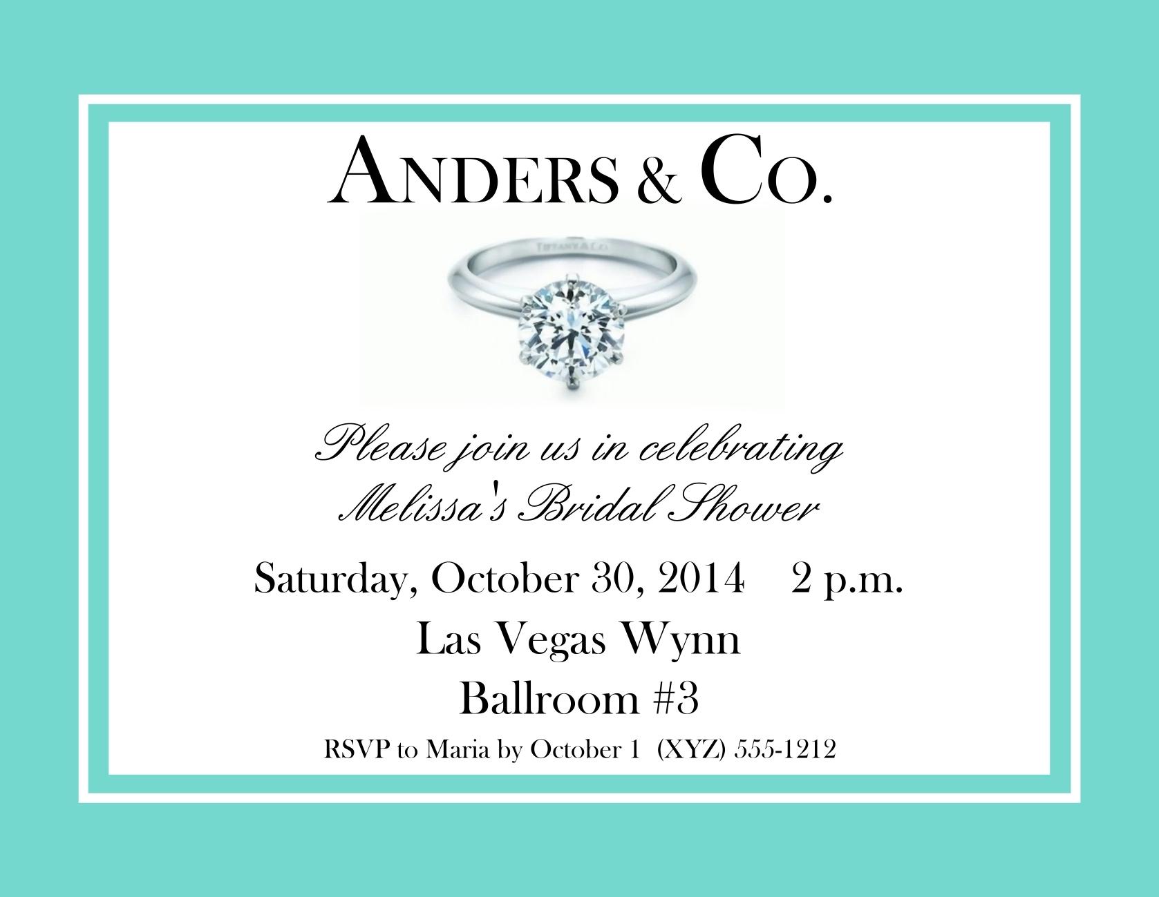 Tiffany Style Bridal Shower Postcard Invitations