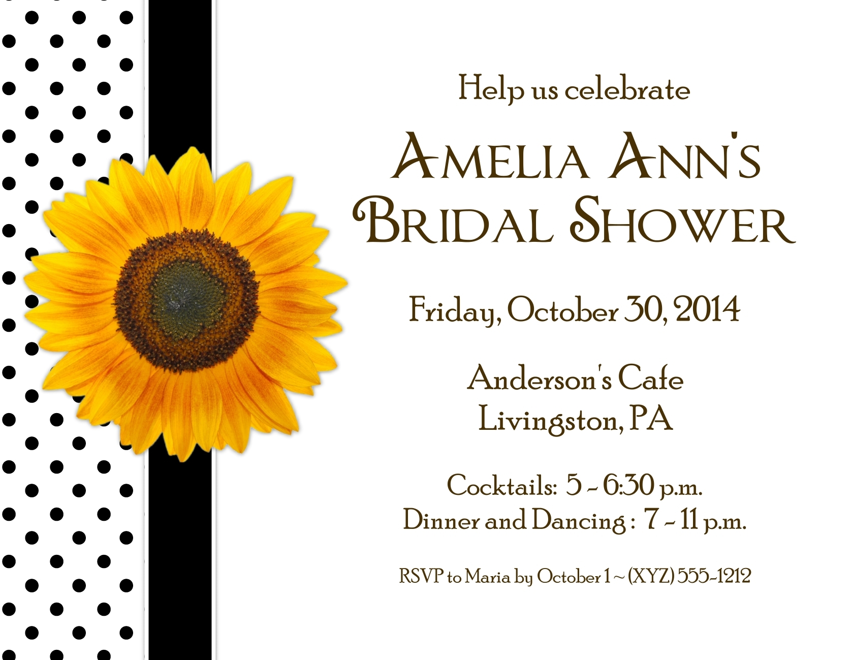 Sunflower Party Invitations with Envelopes 138-SUNFLOWER