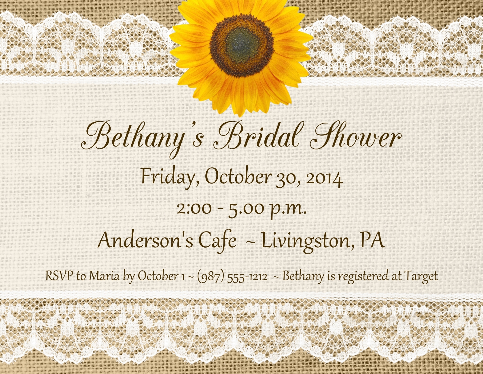Lace & Burlap Invitations With Envelopes 137-SUNFLOWER