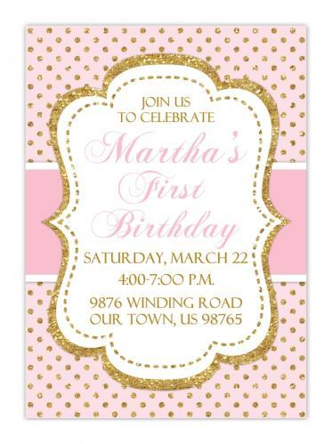 Pink and Gold First Birthday Invitations 102-FirstBday