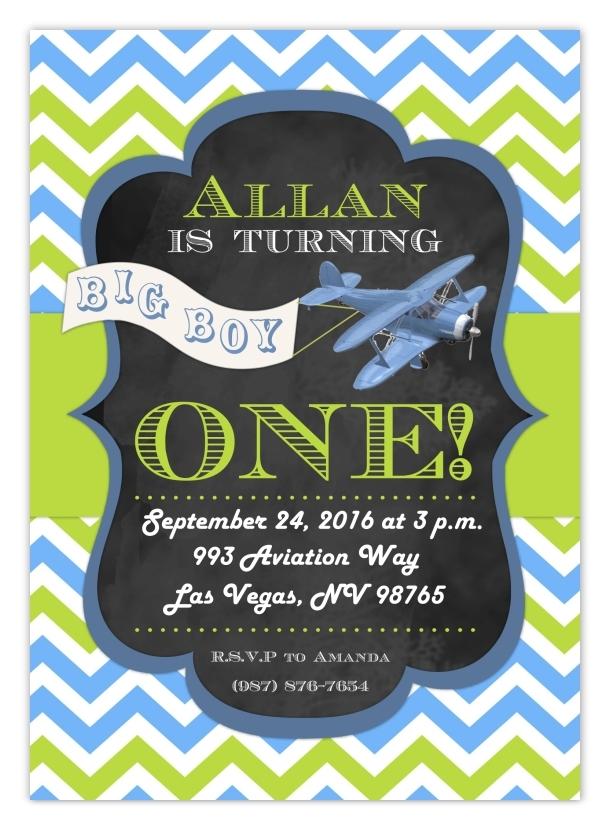 Vintage Airplane Birthday Invitation 101-FirstBdayInvite