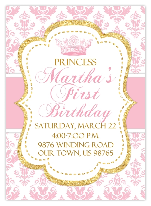 Princess Birthday Invitations 103-FirstBdayInvite