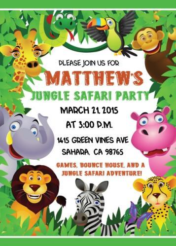 Jungle Safari Birthday Invitations 101-KidsBdayInvite