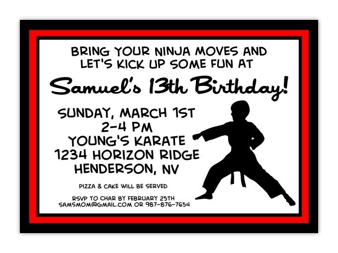 Karate Birthday Invitation Postcards 106-KidsBdayInvite