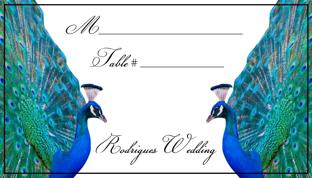 Peacock Wedding Place Cards - Flat or Tent Style 147-PEACOCK