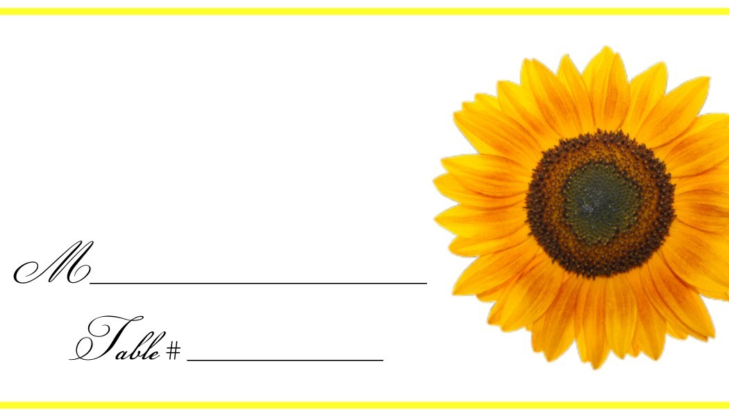 Sunflower Place Cards - Flat or Tent Style 127-SUNFLOWER