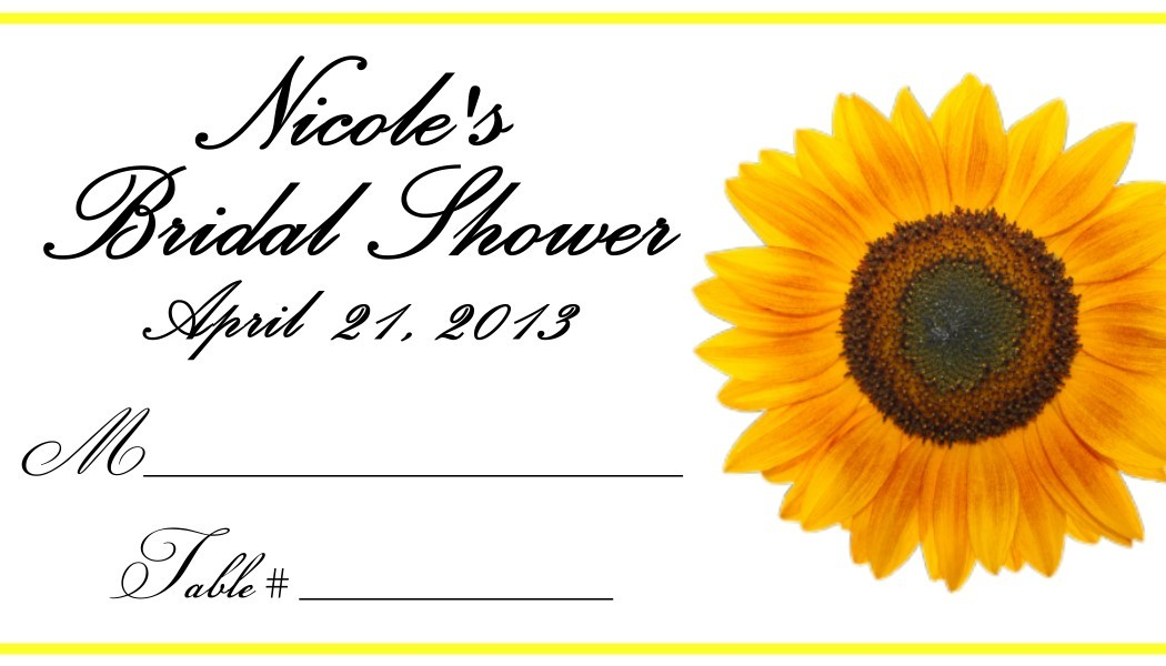 Sunflower Place Cards - Flat or Tent Style