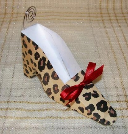 Leopard Shoe Place Card Holders