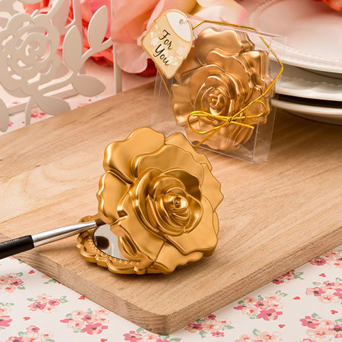 Ornate Matte Gold Rose Design Compact Mirror 148-BEAUTY