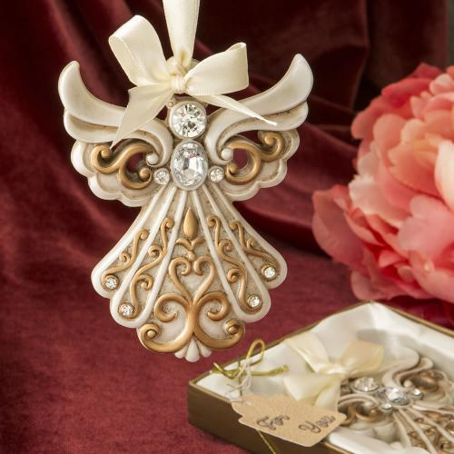 Antique Ivory Angel Ornament With Matte Gold Filigree Detail 250-B