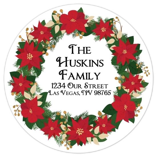 Christmas Wreath Address Stickers 313-sticker