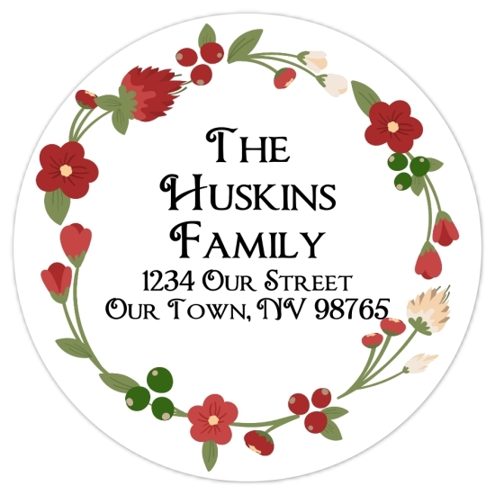 Christmas Floral Wreath Address Stickers 316-sticker
