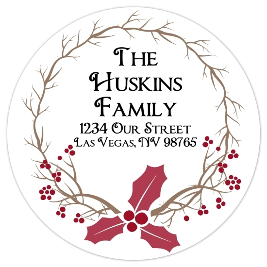 Christmas Laurel Address Stickers 315-sticker