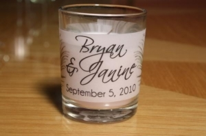 Personalized Peacock Candles Vellum Wrappers