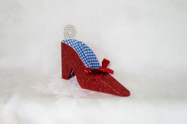 Red Glitter Shoe Place Card Holder 171-SHOE
