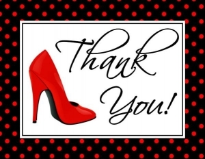 Shoe Thank You Cards with Envelopes - Flat or Folded