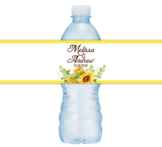 Sunflower Wedding Water Bottle Labels 201-WBL