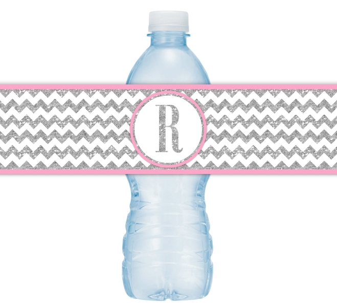 Silver and Pink Monogram Water Bottle Labels 104-WBL