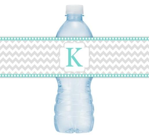 Gray and Teal Chevron Monogram Water Bottle Labels 105-WBL