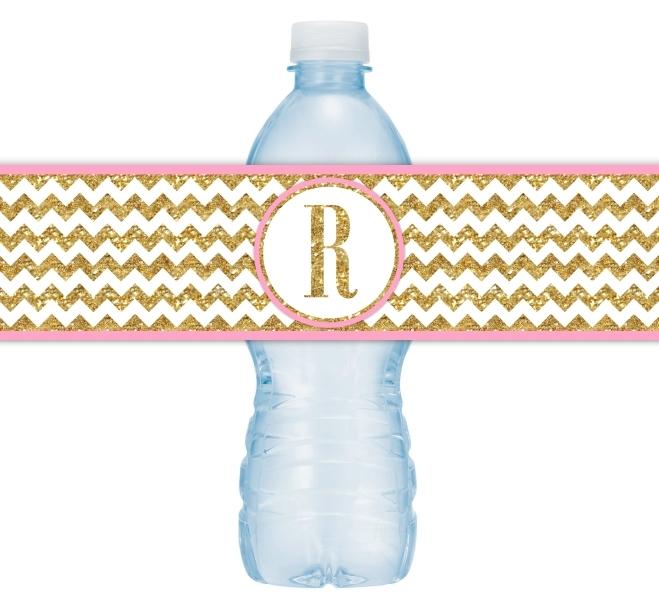 Gold and Pink Chevron Monogram Water Bottle Labels 106-WBL