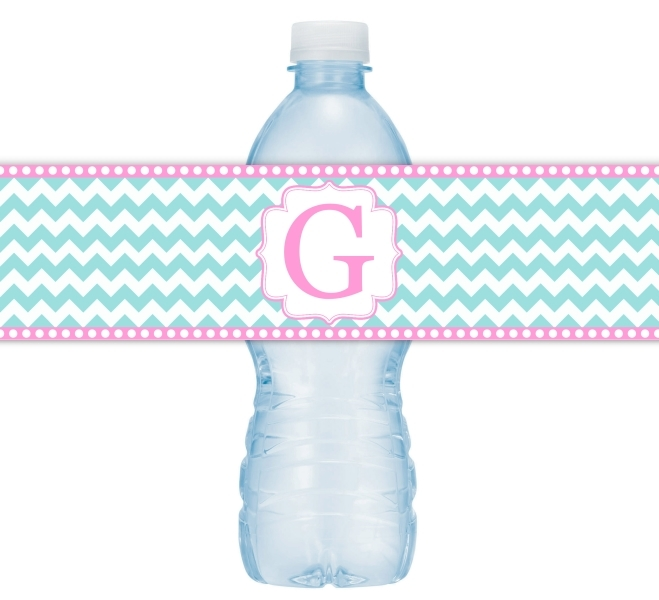Pink and Green Chevron Monogram Water Bottle Labels 107-WBL