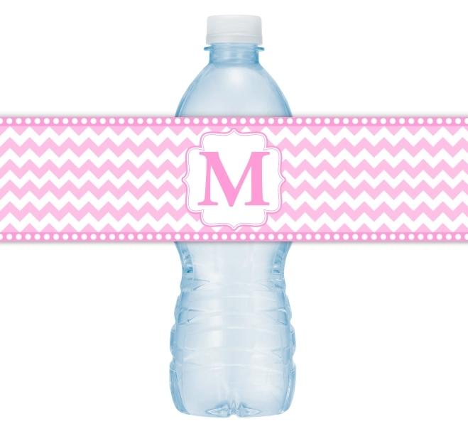 Pink Chevron Monogram Water Bottle Labels 108-WBL