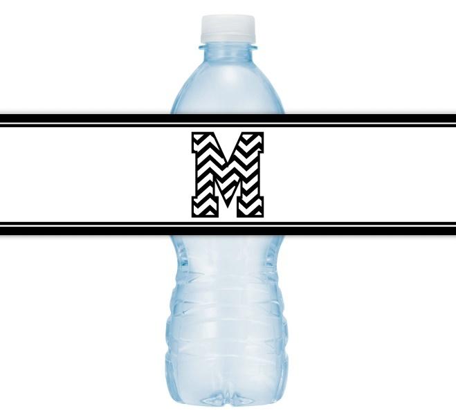 Zebra Monogram Water Bottle Labels 203-WBL
