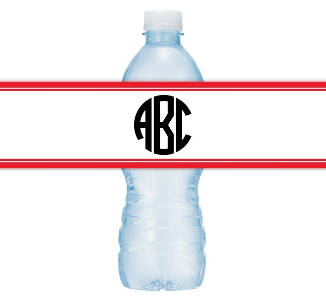 Circle Monogram Wedding Water Bottle Labels 204-WBL
