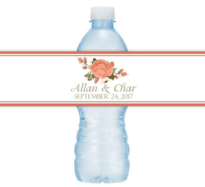 Autumn Floral Wedding Water Bottle Labels 205-WBL