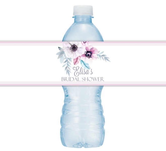 Floral and Feather Wedding Water Bottle Labels 206-WBL